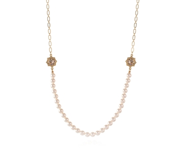 Swarovski Crystal  Becka Long Necklace  | Gold Light Silk