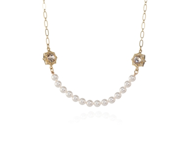 Swarovski Crystal  Becka Short Necklace  | Gold Light Silk