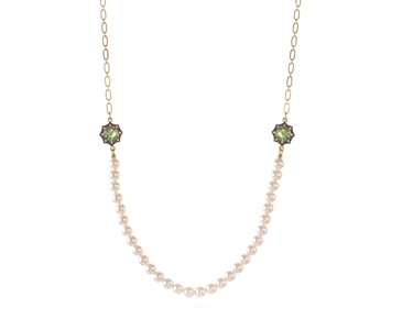 Swarovski Crystal  Becka Long Necklace  | Gun Metal Peridot