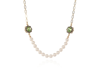Swarovski Crystal  Becka Short Necklace  | Gun Metal Peridot