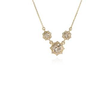 Swarovski Crystal  Becka Trio Necklace  | Gold Light Silk