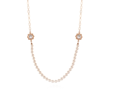 Swarovski Crystal  Becka Long Necklace  | Pink Gold Crystal