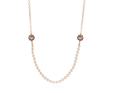 Swarovski Crystal  Becka Long Necklace  | Gun Metal Blush Rose