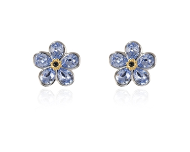 bff994298 Cachet Swarovski Crystal Forget-Me-Not Clip Earrings Rhodium Lavender Clip  on