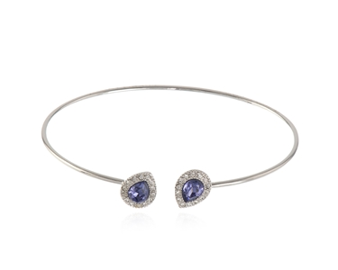 Cachet Swarovski Crystal  Tamsin Spring Bangle Rhodium Tanzanite