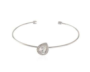 Cachet Swarovski Crystal  Talma Spring Bangle Rhodium