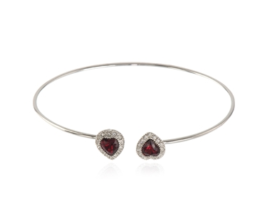 Cachet Swarovski Crystal  Ffion Spring Bangle Rhodium Siam