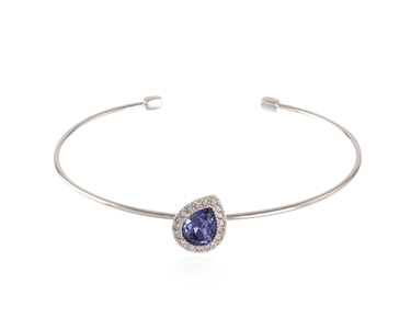 Cachet Swarovski Crystal  Talma Spring Bangle Rhodium Tanzanite