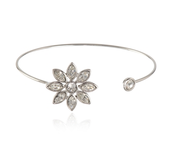 Cachet Swarovski Crystal  Valtina Spring Bangle Rhodium