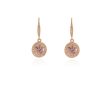 Cachet Swarovski Crystal  Dara Lever Back Earrings Pink Gold