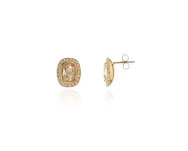 Cachet Swarovski Crystal  Ganya Pierced Earrings Gold golden shadow