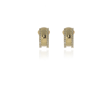 Swarovski Crystal  Scoop Clip Earrings  | Gold Crystal
