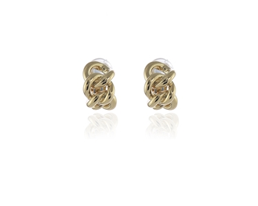 polished Link Clip Earrings Gold