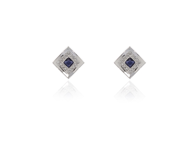 Swarovski Crystal  Safara Clip Earrings  | Rhodium Tanzanite