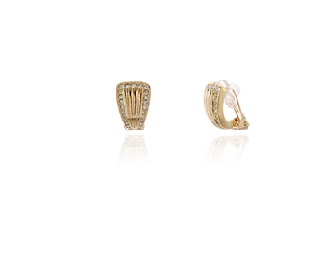 Swarovski Crystal  Fluted Clip Earrings  | Gold Crystal