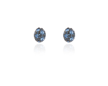 Swarovski Crystal  Ona Clip Earrings  | Hematite Light Sapphier
