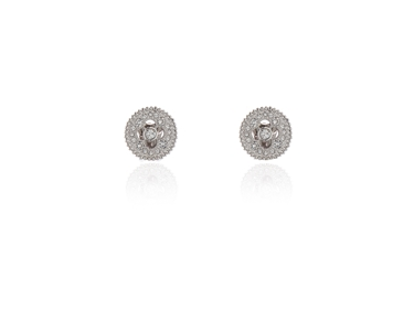 Swarovski Crystal  Ball-Peen Clip Earrings  | Rhodium Crystal