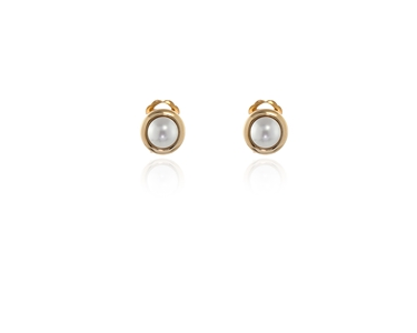 Swarovski Crystal  Pablo Clip Earrings  | Gold White Pearl