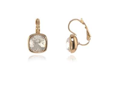 Cachet Swarovski Crystal  Elise Lever Back Earrings Gold Cushion