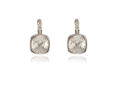 Cachet Swarovski Crystal  Elise Lever Back Earrings Rhodium Cushion