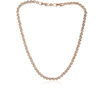 Cachet Swarovski Crystal  Tennis Necklace Pink Gold