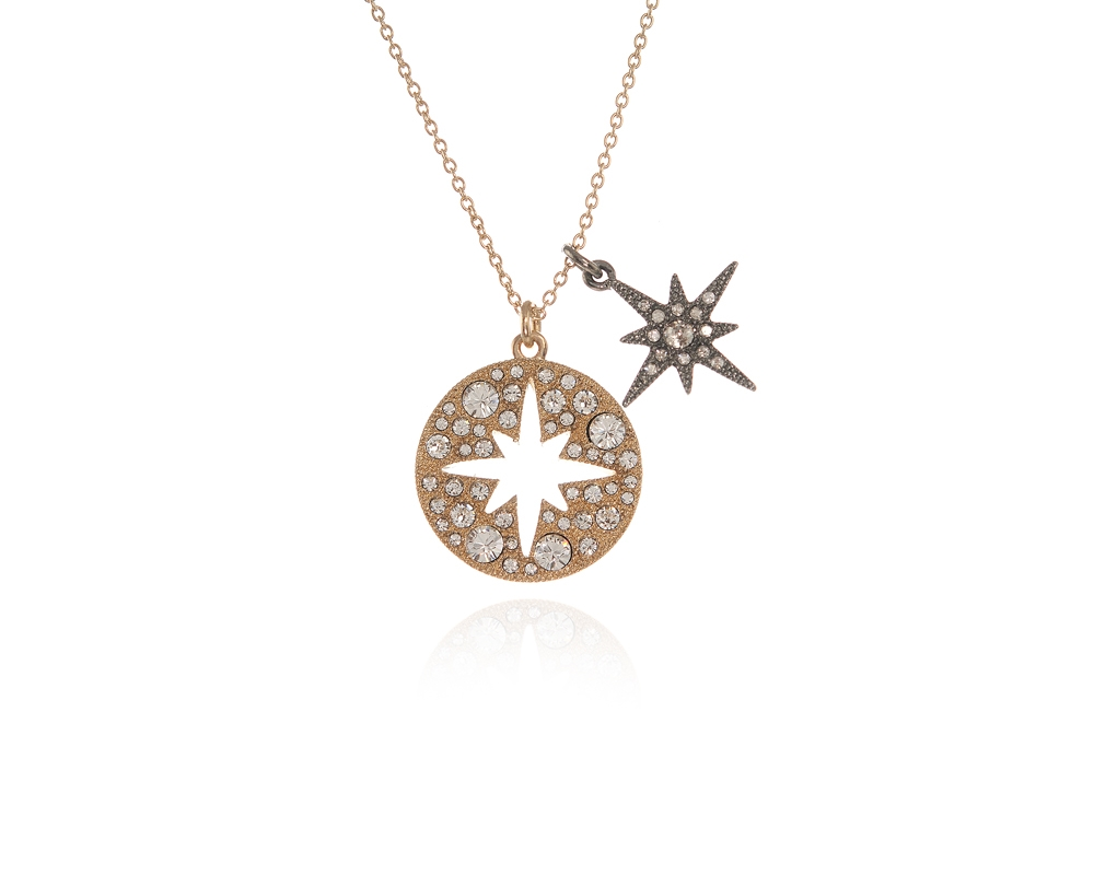 gold white pendant necklace star diamond north