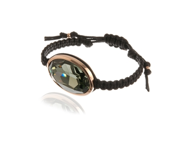 Swarovski Crystal  Maddy Nautical Cord Bracelet  | Pink Gold Black Diamond