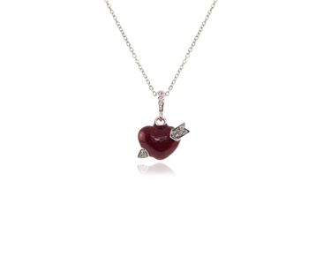 Cachet Swarovski Crystal  Cupid Pendant Rhodium Red