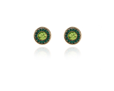 Swarovski Crystal  Tilly Pierced Earrings  | Gun Metal Peridot