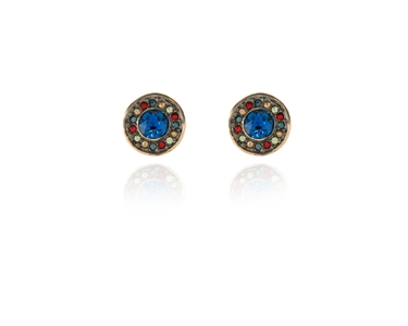 Swarovski Crystal  Tilly Pierced Earrings  | Gun Metal Capri Blue