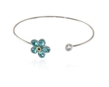 Cachet Swarovski Crystal  Forget me not Spring Bangle Rhodium Light Turquoise