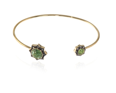 Swarovski Crystal  Becka Spring Bangle  | Gold Peridot