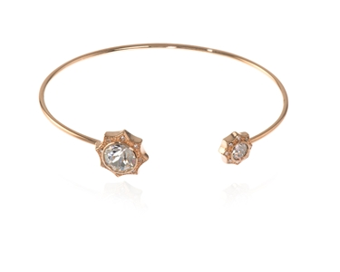 Swarovski Crystal  Becka Spring Bangle  | Pink Gold Crystal