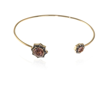 Swarovski Crystal  Becka Spring Bangle  | Gold Blush Rose
