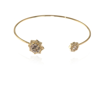 Swarovski Crystal  Becka Spring Bangle  | Gold Light Silk