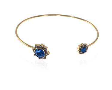 Swarovski Crystal  Becka Spring Bangle  | Gold Capri Blue