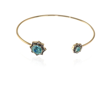 Swarovski Crystal  Becka Spring Bangle  | Gold Light Turquoise