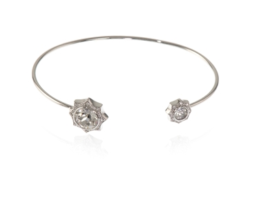 Swarovski Crystal  Becka Spring Bangle  | Rhodium Crystal