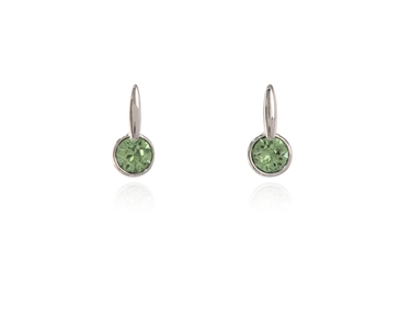 Swarovski Crystal  Lara Simply Stud Earrings  | Rhodium Peridot