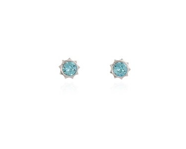 Swarovski Crystal  Bly Stud Earrings  | Rhodium Light Turquoise