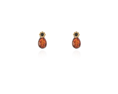 Swarovski Crystal  Forget-Me-Not Stud Earrings  | Rhodium Tangerine