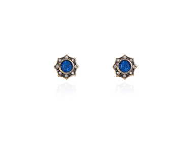 Cachet Swarovski Crystal  Becka Pierced Earrings Gun Metal Capri Blue