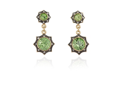 Swarovski Crystal  Becka Drop Pierced Earrings  | Gun Metal Peridot