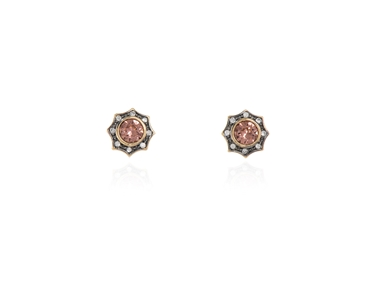 Swarovski Crystal  Becka Pierced Earrings  | Gun Metal Blush Rose