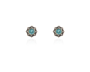Cachet Swarovski Crystal  Becka Pierced Earrings Gun Metal Light Turquoise