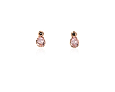 Swarovski Crystal  Forget-Me-Not Stud Earrings  | Pink Gold Rosaline