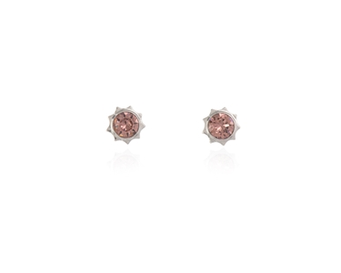 Swarovski Crystal  Bly Stud Earrings  | Rhodium Blush Rose