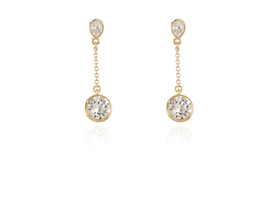 Cachet Swarovski Crystal  Ekin Brilliant Pierced Earrings Gold