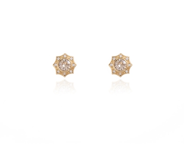 Swarovski Crystal  Becka Pierced Earrings  | Gold Light Silk