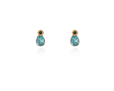 Cachet Swarovski Crystal  Forget-Me-Not Stud Earrings Rhodium Light Turquoise
